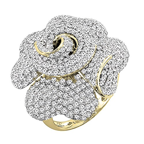 Yellow Gold Round Diamond Ladies Blossom Flower Rose Right Hand Ring (Size 6) (Diamond Flower Right Hand Ring)