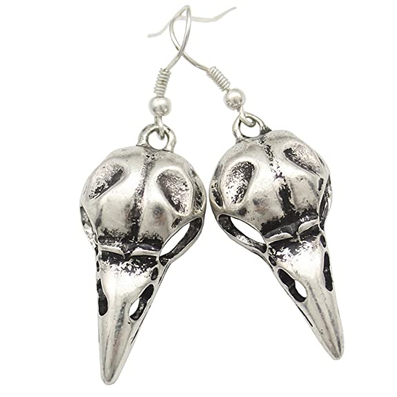 Q&Q Fashion Vintage Silver Plated Skull Bird Crow Raven Gothic Punk Emo Steampunk Dangle Earrings by Q&Q Fashion: Amazon.co.uk: Jewellery