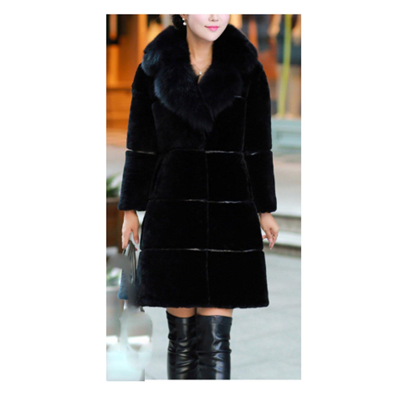 noir XL Huaishu MesLes dames Femmes épais Manteau Long Fluffy Manteau en Fausse Fourrure à Manches Longues Manteau Veste Manteau d'hiver Pardessus