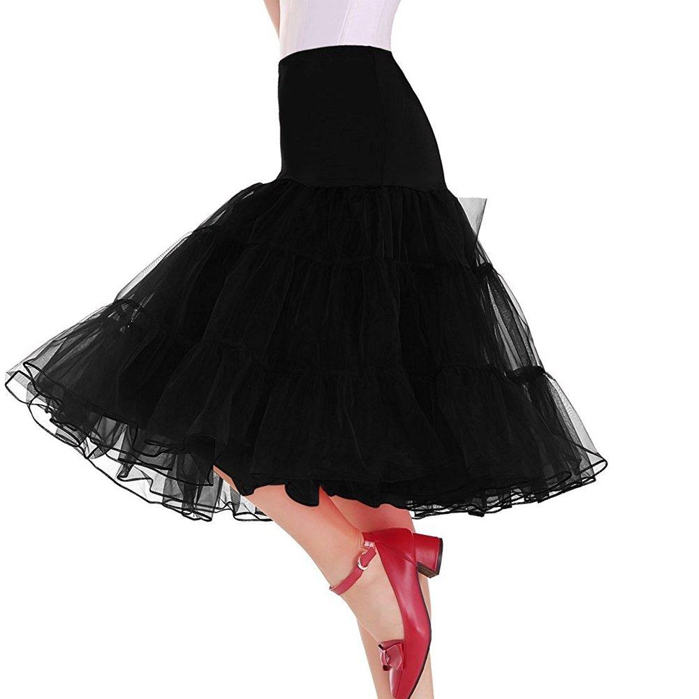 Oliveya Womens Black Petticoat Underskirt Knee-Length Half Slips Tutu Skirt 3XL