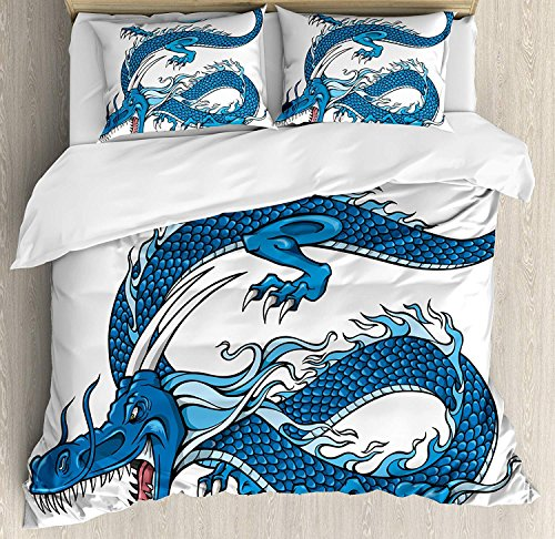 Fantasy Bedding Duvet Cover Set Twin, Legend Dragon Mythical Creature Japanese Culture Folk Icon Print, Comforter Cover and Pillow Shams 4 Piece Set for Children/Adults, Dark Blue Pale Blue White ()