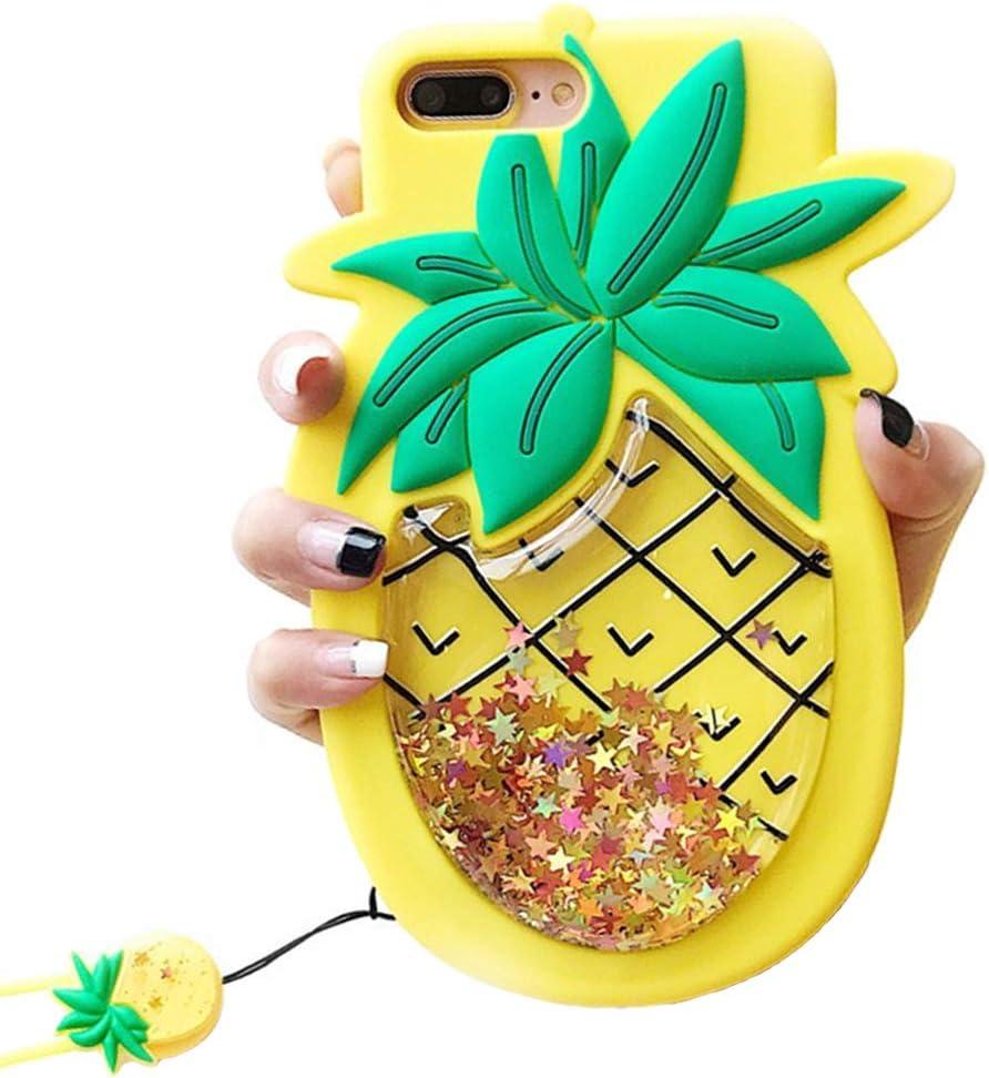 Unique iPhone 7 Case, iPhone 8 Case, Cute 3D Creative Soft Feeling Silicone Phone Case Cover for Apple iPhone 7 Liquid Pineapple