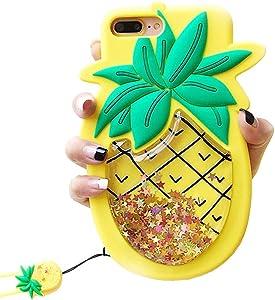 Unique iPhone 7 Plus Case, iPhone 8 Plus Case, Cute 3D Creative Soft Feeling Silicone Phone Case Cover for Apple iPhone 7 Plus Liquid Pineapple