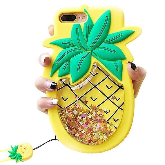 separation shoes f837d db6a0 Unique iPhone 7 Plus Case, iPhone 8 Plus Case, Cute 3D Creative Soft  Feeling Silicone Phone Case Cover for Apple iPhone 7 Plus Liquid Pineapple