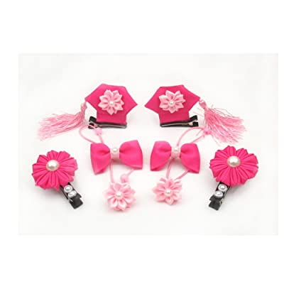 TBW Chinese Princess Tassel Hair Clip Flower Smiley Hair Tie Bands Hairpin Headwear Accessories for Baby Girls - 8pcs, Pink