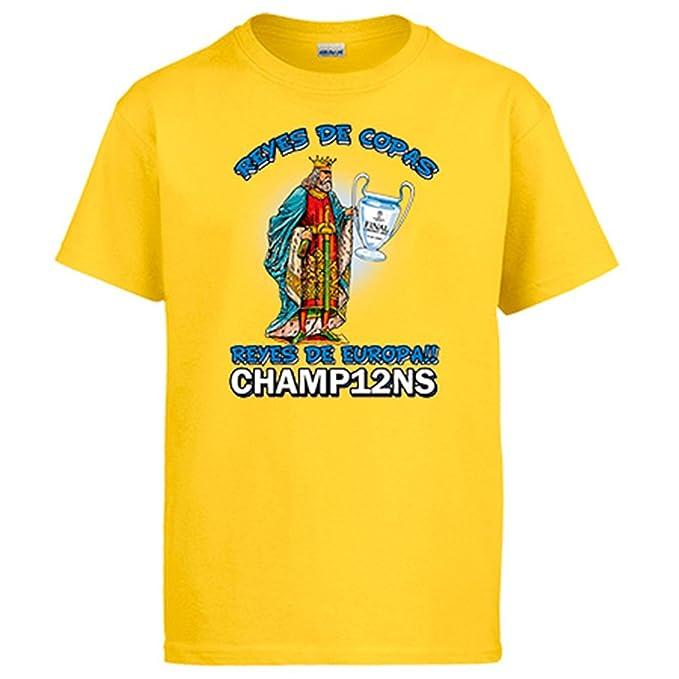 Camiseta Madrid fútbol real campeones de Europa Reyes de Europa: Amazon.es: Ropa y accesorios