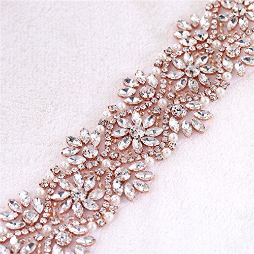 Sash Trim (1 Yard Rhinestone Appliques Flower Rose Gold,Bridal Sash Belts Rhinestones, Wedding Belt,Sew on Trims for Wedding Dress Bridesmaid Garter Decorations Iron on Sewing Beaded Women)