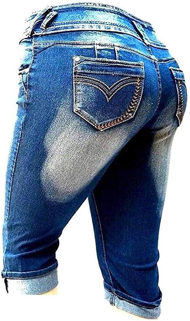 LA CHULA Womens Plus Size Blue Capri Acid Wash Denim Jeans Stretch HIGH Waist