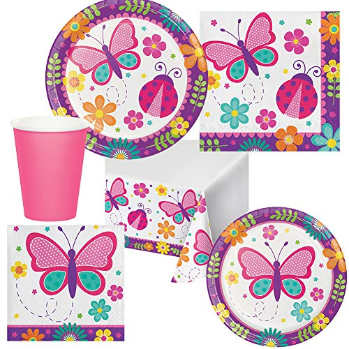 Butterfly Garden Birthday Party Pack Set Serves 16 Children Adults - Luncheon & Dessert Paper Plates, Table Cover, Napkins & Cups - Disposable Party Supplies for Food and Cake (Napkin Butterfly Fold)