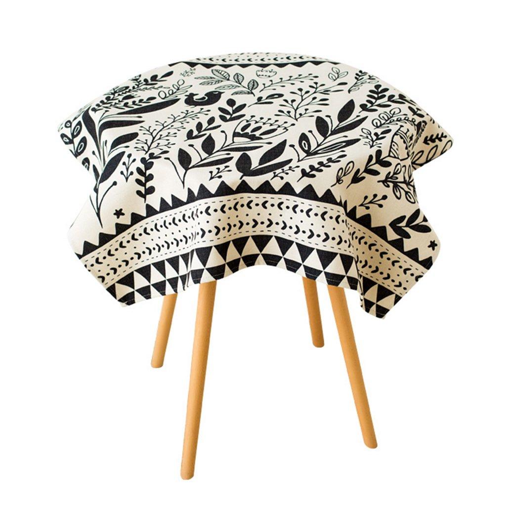 CHENGYI Mantel blanco negro de la flor de la la la manera simple moderno simple de la cocina de la sala de estar de la manera simple del restaurante 140  140cm (este producto vende solamente manteles) 040cf5