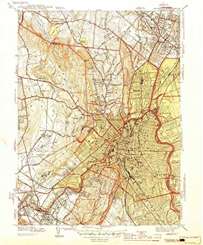 YellowMaps Paterson NJ topo map, 1:31680 Scale, 7.5 X 7.5 Minute, Historical, 1944, 19.9 x 16.6 in - Polypropylene]()