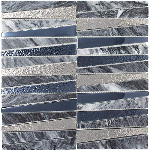 - TDLG-03 Irregular Triangle Grey Stone and Metallic Glass Mosaic Tile Backsplash (Sample Swatch)