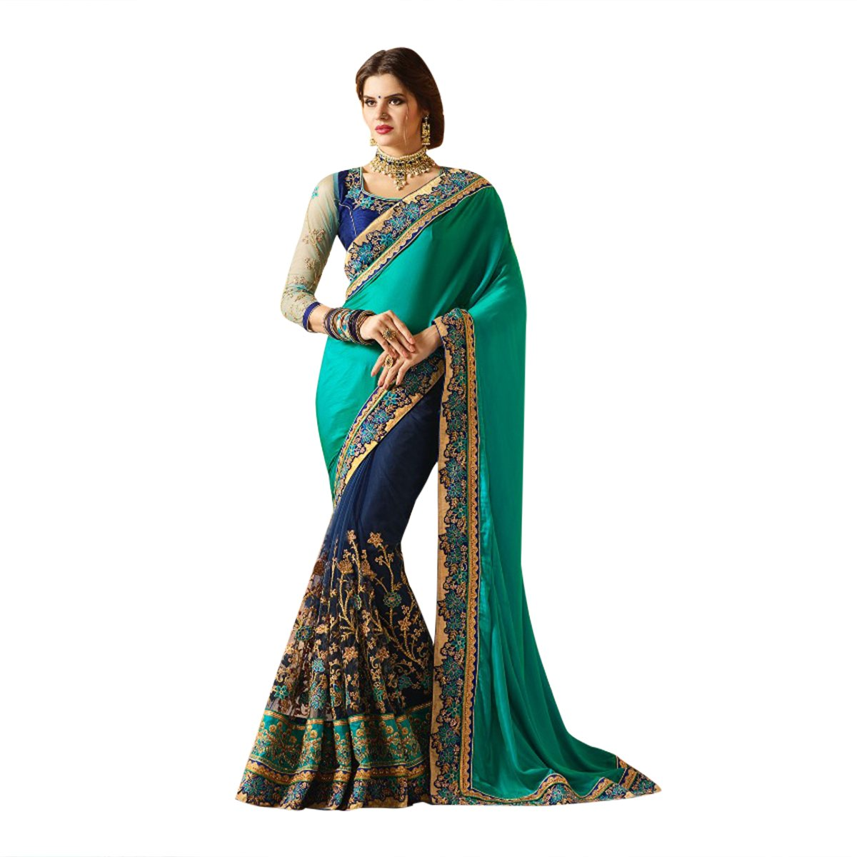 Light & Dark Blue Color Combination Bollywood Saree Sari With Latest Stylish Pattern On Blouse Just Launched Women Wedding Ceremony Party Wear Diwali Festive By Ethnic Emporium 526