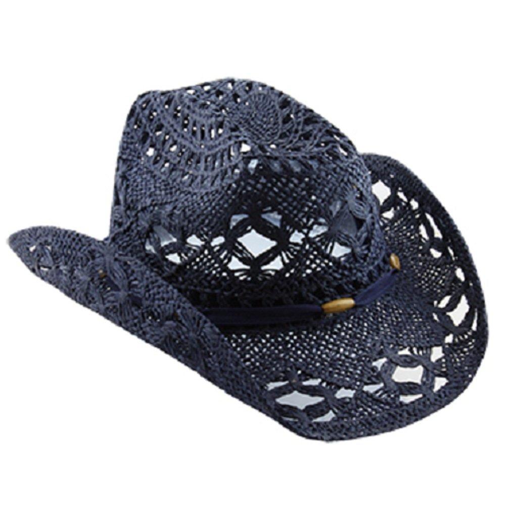 Blue Stylish Toyo Straw Beach Cowboy Hat W/Shapeable Brim, Boho Modern Cowgirl