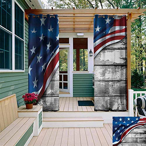 Sunnyhome American Flag,Custom Outdoor Curtain,Close Up Design Flag Over Antique Rustic Rippled Board Federal Country Art,Room Darkening Thermal,W84x84L,Grey Navy (94 Country With Blue On Its Flag)