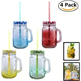 Pack of 4 Mason Jar Mugs with Handle, Color Lids and Plastic Straws 16 Oz ,Each , Old Fashion Drinking Glasses, Glass Drinking Cup ,Dishwasher Safe, Assorted Color Lid (4x16oz+lids+straws)