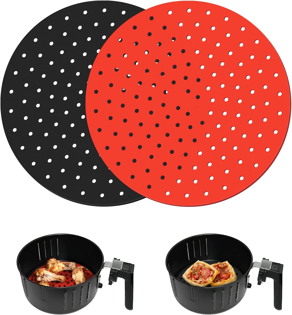 Reusable Air Fryer Liners, 9-Inch Round Silicone Air Fryer Liners, Non-Stick Air Fryer Accessories for NINJA Nuwave Chefman Gourmia Dash and More, Safe Air Fryer Mat, Replace parchment