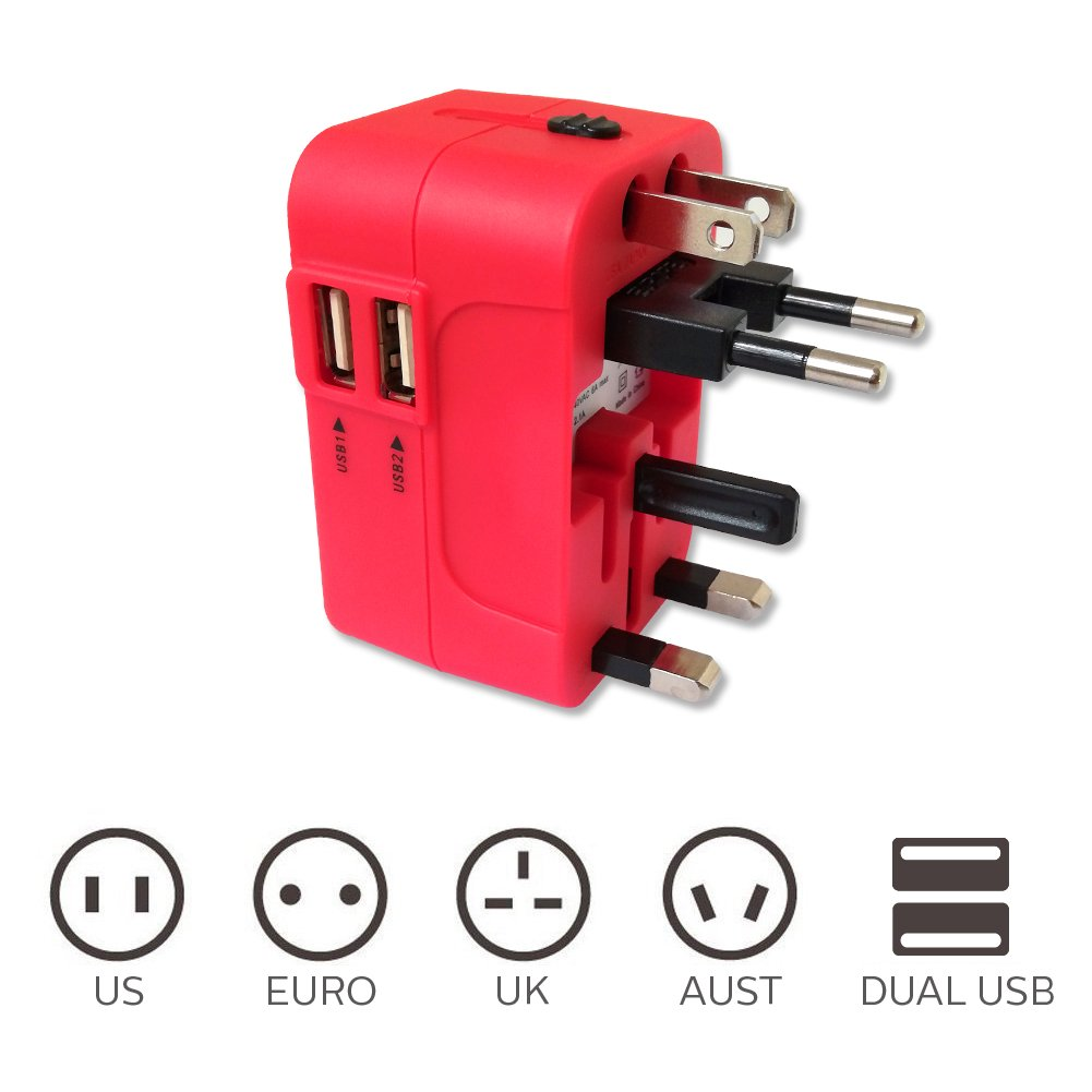 All in One International Universal Travel Adapter,Dual USB Charging Ports Converter for USA EU UK AUS European Compatible with Mobile Phone,Power Bank,Tablet,Laptop and Earphone. (Red) by LALAFO (Image #4)