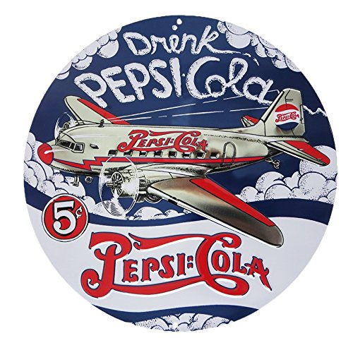 (Pepsi Die-Cut Tin Sign 14 x 14in)