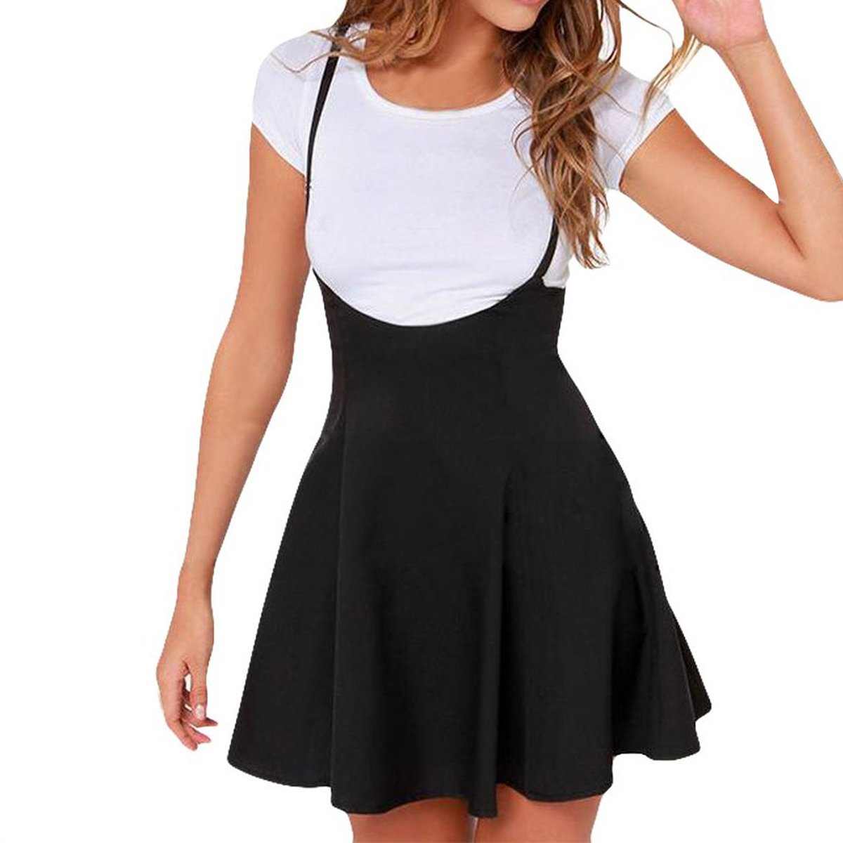 21d89005ed3 Features  high waisted a line flared skater flattering above knee skirts  with suspender. This mini cute skirt is great for casual