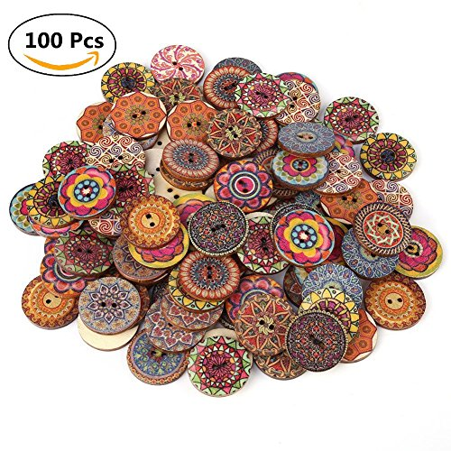 Decorative Buttons For Crafts 1 Inch 100Pcs Vintage Wood Buttons With 2 Holes For Diy Sewing Craft Decorative Mixed Pattern