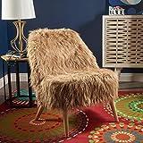 Soho Glam Faux Fur Chair - Shaggy Faux Fur Accent Chair - Faux Sheepskin Chair