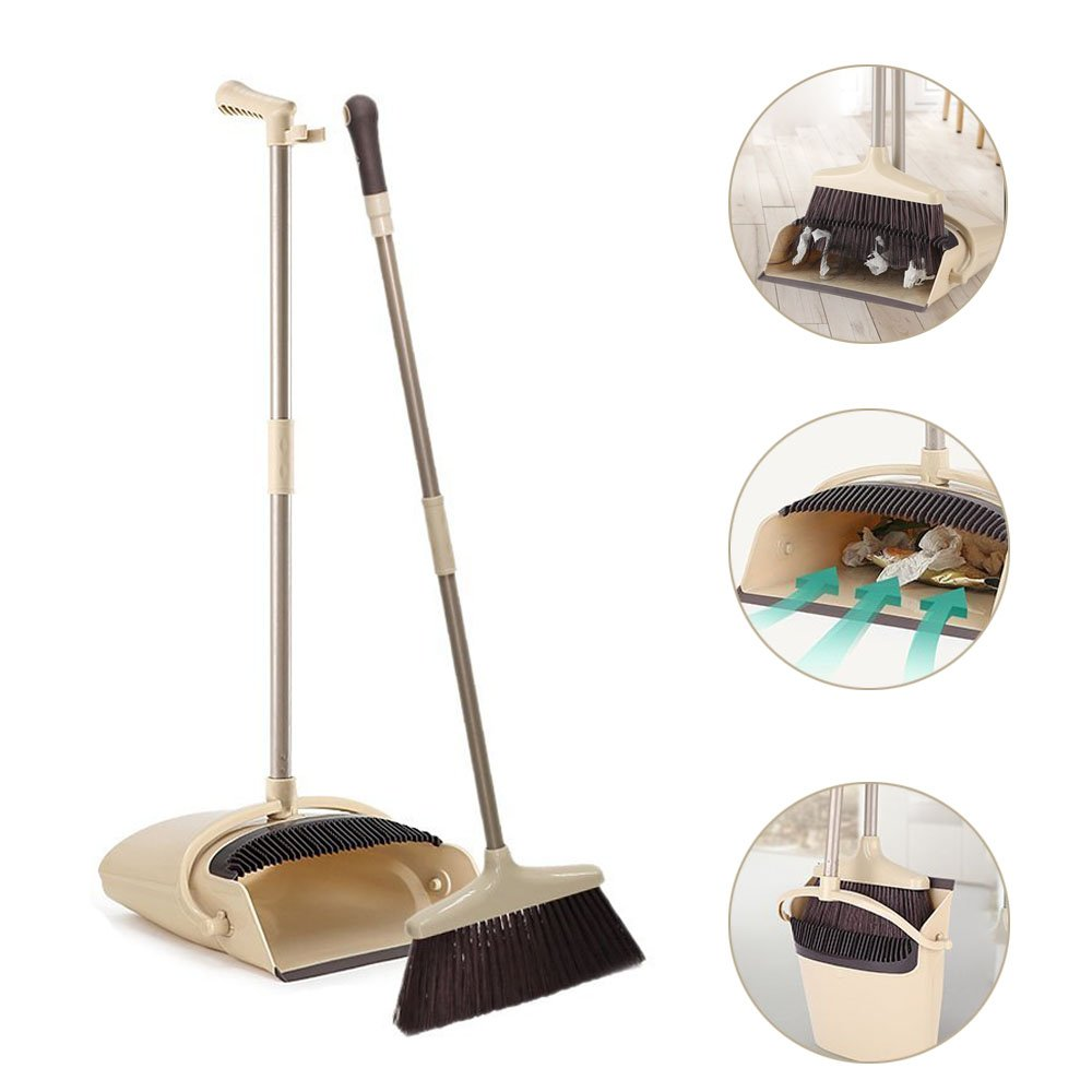 Broom and Dustpan Combo Set, Lobby Broom and Upright Dustpan with Teeth, Handheld Broom and Windproof Dust Pan Grips Combo Set for Sweeping Home, Kitchen and Office