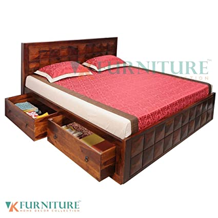 VK Furniture Sheesham Wood Queen Size Bed With Side 2