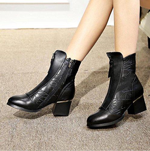 Martin Black en Gruesas Y Coreana Mujeres Felpa Cortas Versión Con Short Botas High El heel Desnudo Khskx La De Zapatos fw8H8