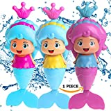Conquer Baby - Mermaid Wind Up Floating Bath Water Toys for Kids and Toddlers - Swimming Pool Beach Bathing Time Bath Tub Fun BPA-free - 1 Piece