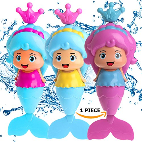 Conquer Baby - Bath Toys for Toddlers Kids - Mermaid Wind Up Floating Water BathTub Toys, Swimming Pool Beach Bathing Time Fun - 1 Piece ()