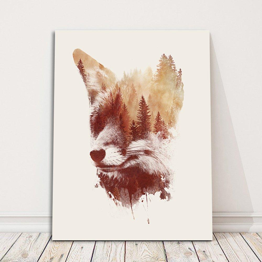 Rot Fuchs 1 Teilig Illustration Feeby Leinwand Bild Leinwandbilder Bilder Wandbilder Kunstdruck Robert Farkas Wandbild Blind Fox 70x100 cm