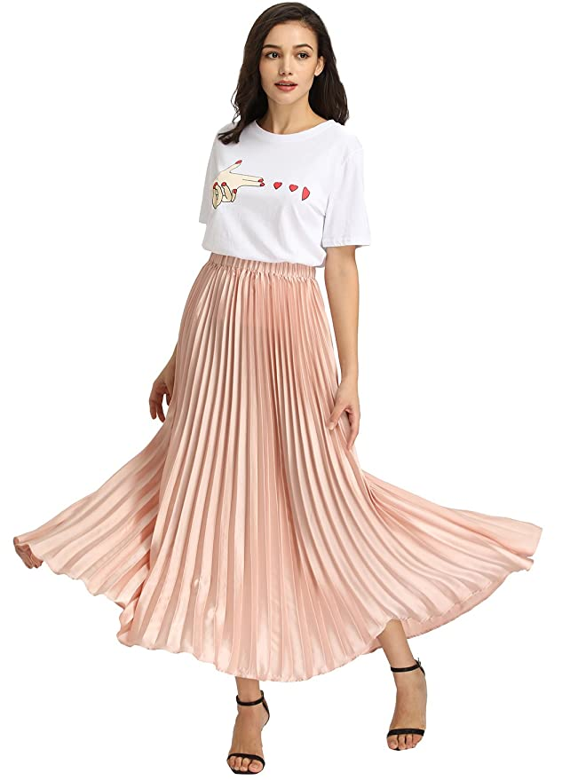 Tea Length 1930s Style Skirts for Sale ROMWE Womens Retro Vintage Summer Chiffon Pleat Maxi Long Skirt Dress $28.99 AT vintagedancer.com