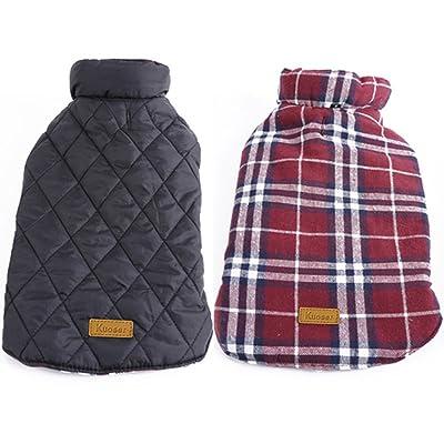 Kuoser Cozy Waterproof Windproof Reversible British Style Plaid Dog Vest Winter Coat Warm Dog Apparel