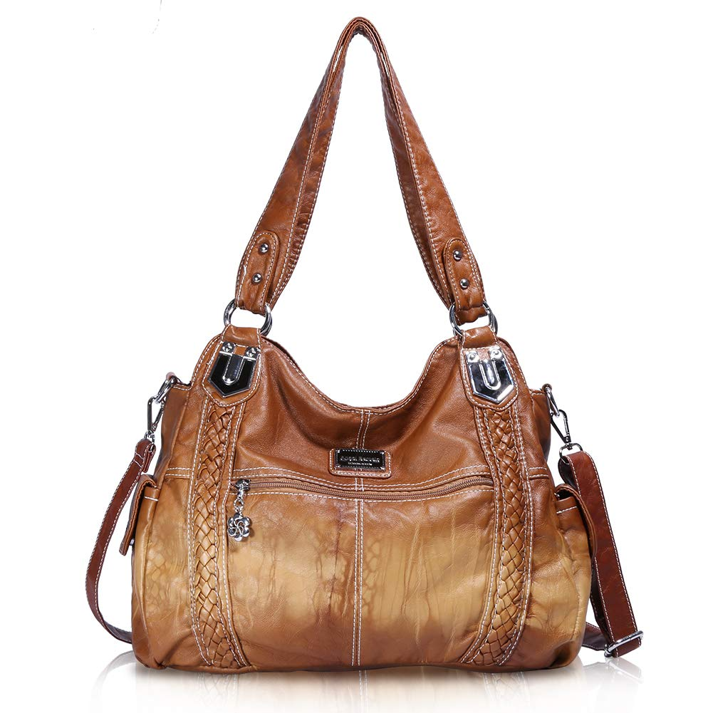 Angel Barcelo Roomy Fashion Hobo Womens Handbags Ladies Purse Satchel Shoulder Bags Tote Washed Leather Bag (Brown) by Angel Barcelo