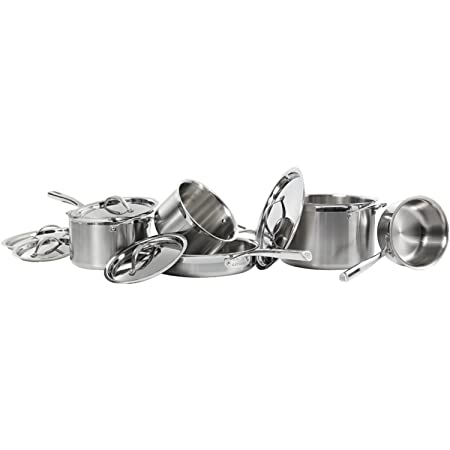 CAT CORA by Starfrit 10-Piece Tri-Ply Stainless Steel Cookware Set