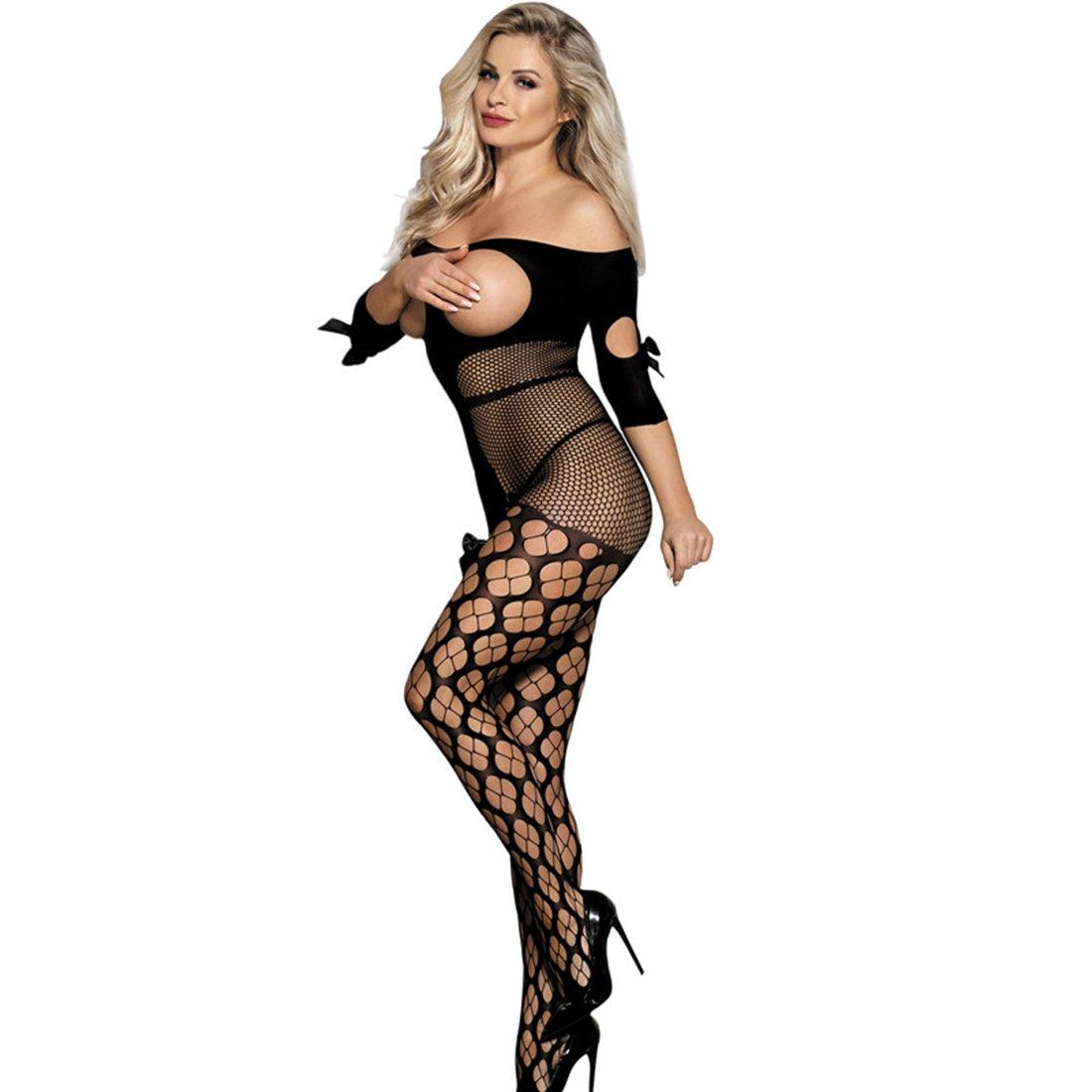 46c6fcea12 Amazon.com  HI JANE Sexy Lingerie Black Fishnet Bodystocking Cupless  Crotchless Bodysuit Plus Size  Clothing
