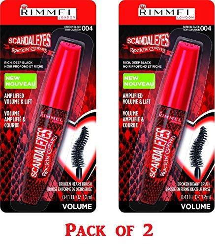 Rimmel Scandaleyes Rockin' Curves Mascara, 004 Carbon Black, 0.41 Fluid Ounce (Pack of -