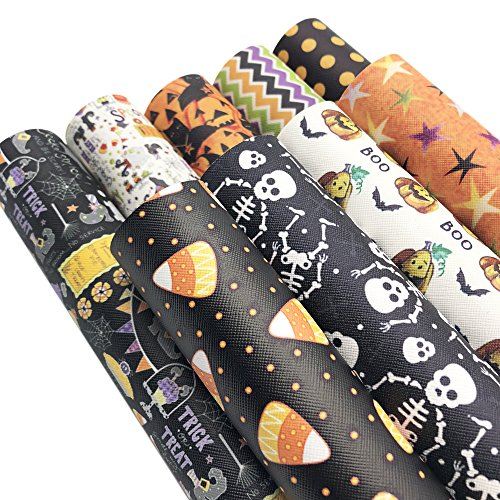 David accessories Halloween Pumpkin Printed Leather Sheets Fabric Canvas Back 9Pcs 8