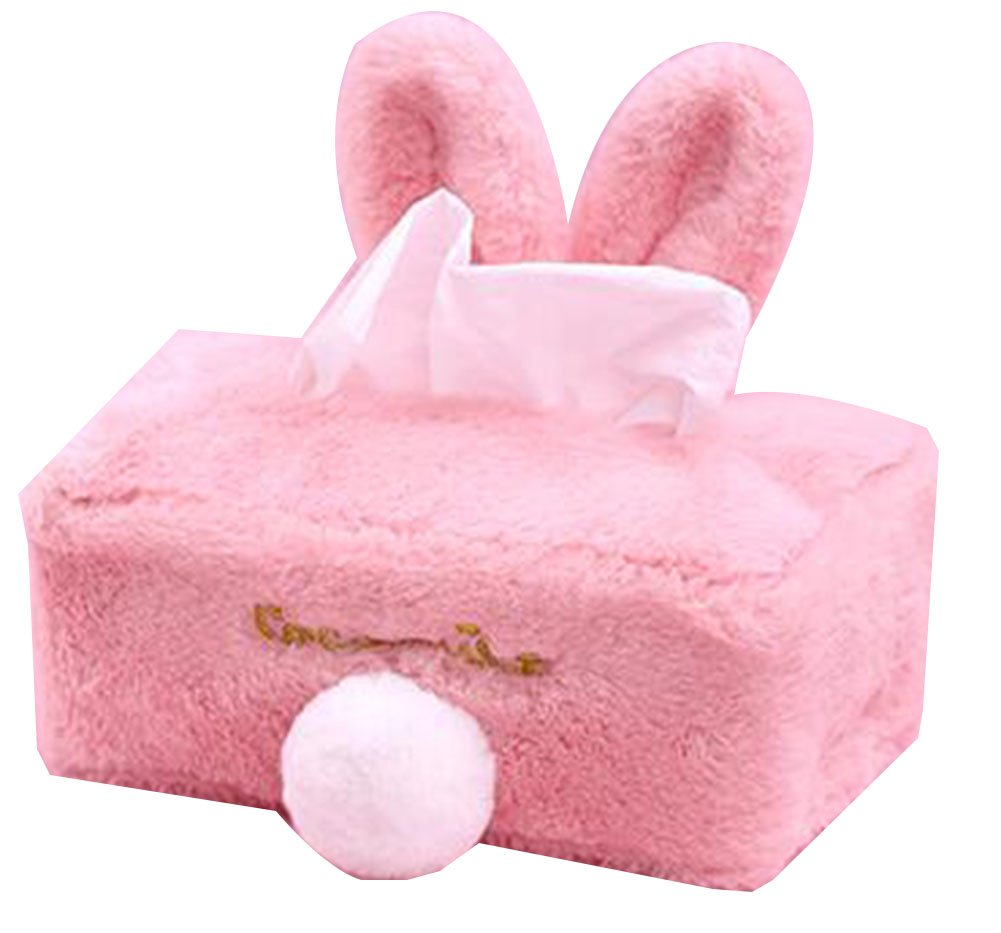 Cute Rabbit Ears Plush Fabric Tissue Cover Bedroom Tissue Box [Pink] Black Temptation