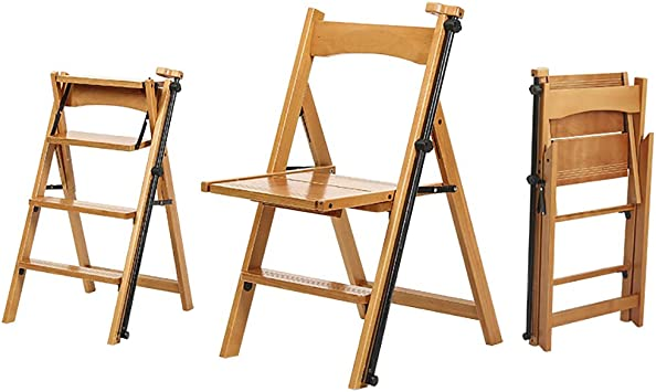 Taburete plegable Escalera de madera maciza Taburete, madera natural Silla de escalera plegable convertible multifuncional para biblioteca Taburete de 4 escalones, cocina Oficina Silla de escalera: Amazon.es: Hogar