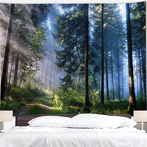 """BJYHIYH Misty Forest Tapestry Wall Hanging Nature Landscape Tapestry Sunshine Through Tree Tapestries for Bedroom Living Room Dorm Decor(90.6""""×59.1"""")"""