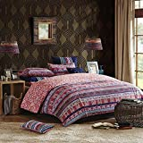 3pc Plum Purpel Pink Orange Bright Colorful Bohemian Duvet Cover Queen Set, Cotton, Abstract Floral Southwest Bedding Rich Deep Fushsia Green Navy Turquoise Hippie Indie Hippy