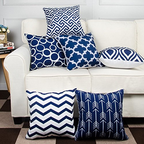 Decorative Modern Pillow (Modern Homes 100% Cotton Decorative Throw Pillow Covers Cushion Cases 16 x 16 inch (Navy Blue, Set of 6))