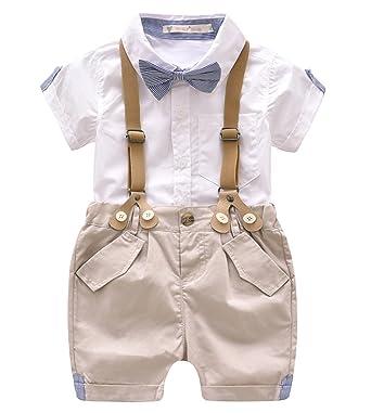 Qinni-shop Little Boys Khaki Summer Suits Set Gentleman Shirt Shorts Outfits