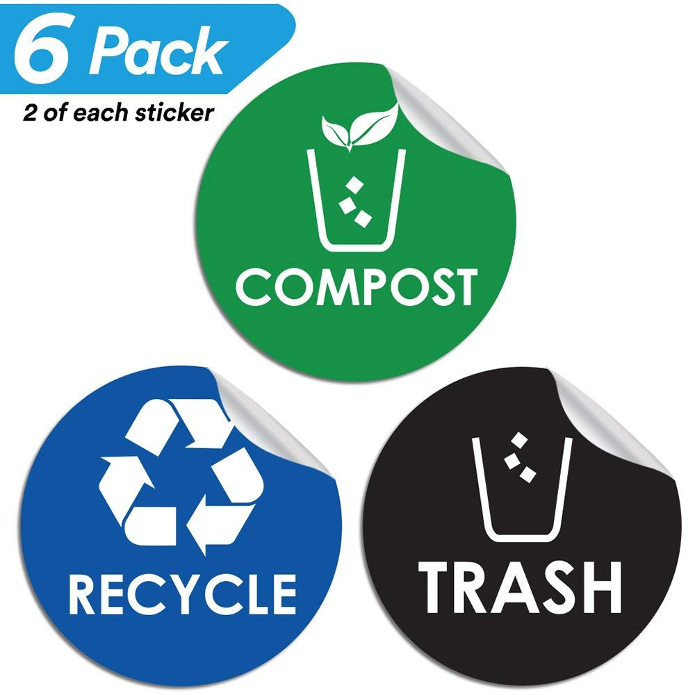 Amazon com pixelverse design recycle sticker trash compost can 4 recycling vinyl decal 6 pack home kitchen