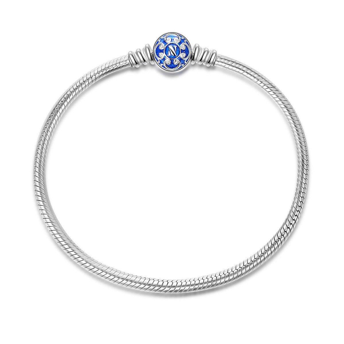 NINAQUEEN Charms Bracelet pour femme argent 925 Bleu 17cm, Livré dans Une Boîte Cadeau Bijoux, Test Sgs Passé sans Nickel, sans Allergène NQB5350BB17-XJ
