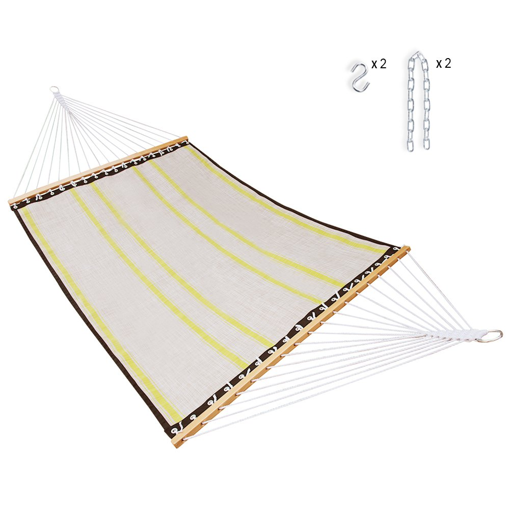 SUNMERIT Hammock Quick Dry with Double Size Spreader Bar for Outdoor Garden Patio, Waterproof and UV Resistance, 14 FT, 2 Person 450 lbs Capacity (Light Grey)