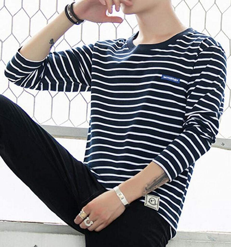 Mstyle Mens Casual Cotton Crew Neck Slim Fit Long Sleeve Striped Blouse Shirt Tops Dark Blue 2XS