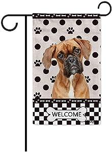 BAGEYOU Welcome Dog Polka Dots Garden Flag Boxer Dog Buffalo Check Plaid Paw Bone Decor Home Banner for Outside 12.5x18 Inch Print Both Sides